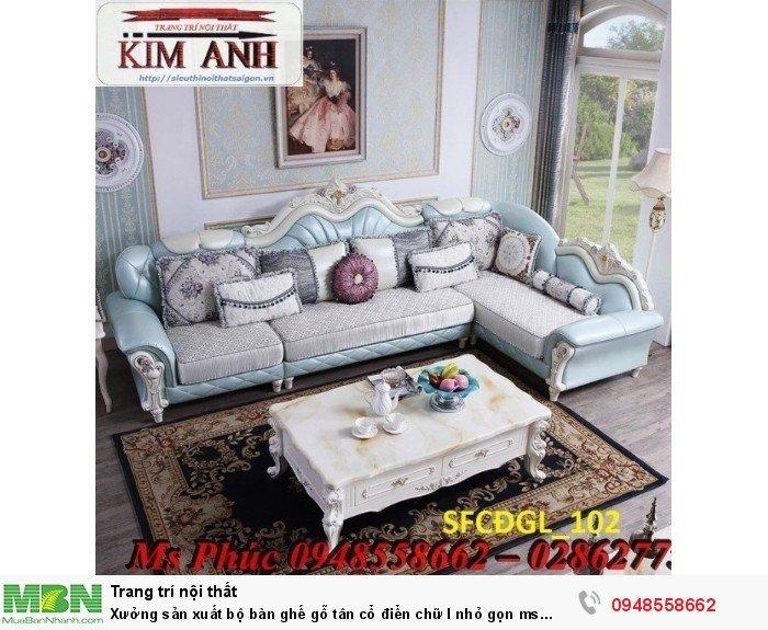 Xưởng sản xuất bộ bàn ghế gỗ tân cổ điển chữ l nhỏ gọn ms SFCĐGL_81 - nội thất Kim Anh21