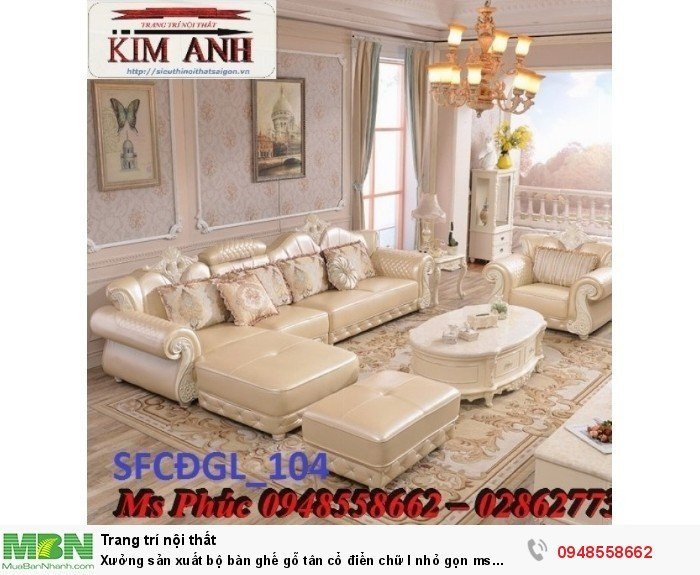 Xưởng sản xuất bộ bàn ghế gỗ tân cổ điển chữ l nhỏ gọn ms SFCĐGL_81 - nội thất Kim Anh23