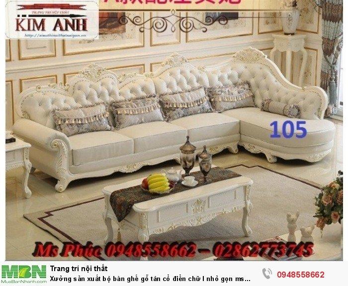 Xưởng sản xuất bộ bàn ghế gỗ tân cổ điển chữ l nhỏ gọn ms SFCĐGL_81 - nội thất Kim Anh24