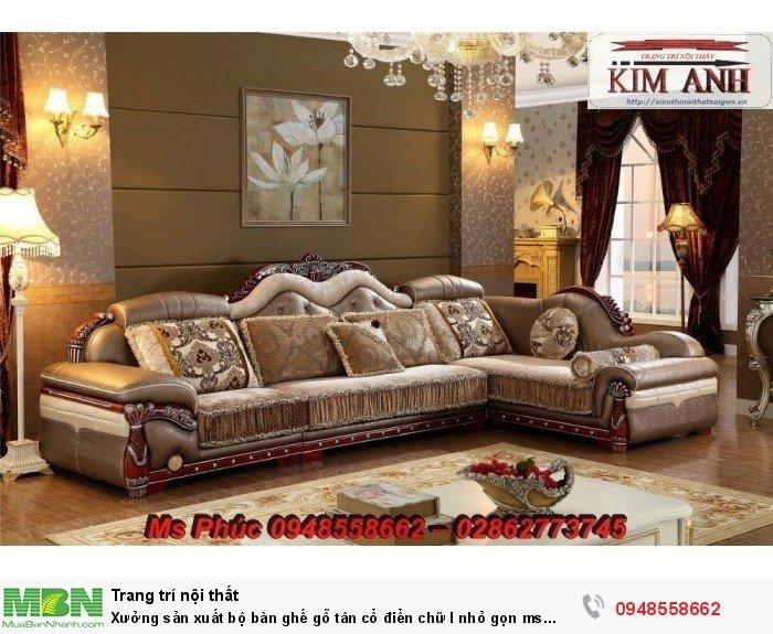 Xưởng sản xuất bộ bàn ghế gỗ tân cổ điển chữ l nhỏ gọn ms SFCĐGL_81 - nội thất Kim Anh30