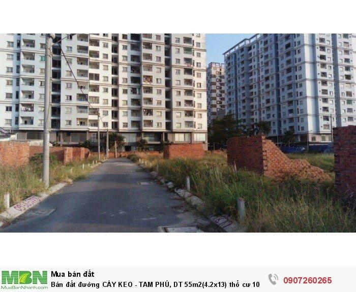 Bán đất đường CÂY KEO - TAM PHÚ, DT 55m2(4.2x13) thổ cư 100%