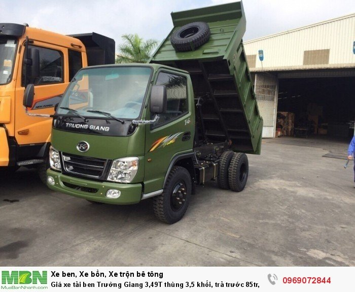 Giá xe tải ben Trường Giang 3,49T thùng 3,5 khối, trả trước 85tr, giao xe ngay 0