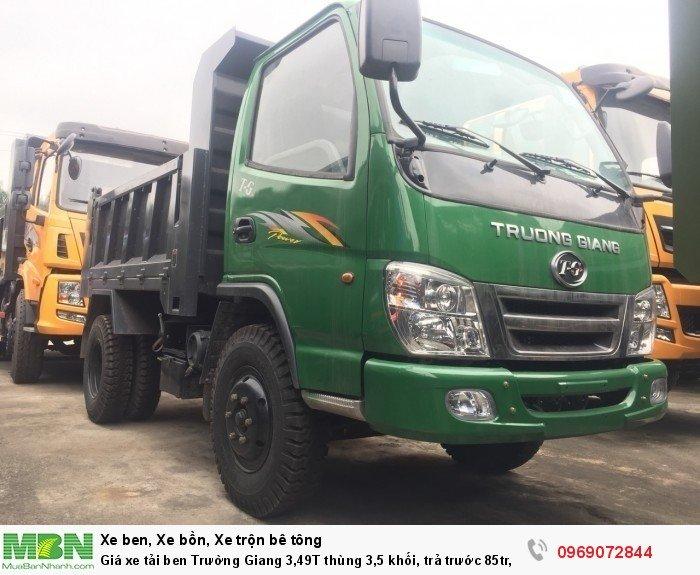 Giá xe tải ben Trường Giang 3,49T thùng 3,5 khối, trả trước 85tr, giao xe ngay 23