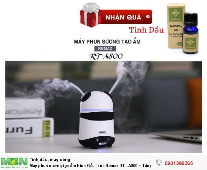 Máy phun sương tạo ẩm Hình Gấu Trúc Remax RT - A800 + Tặng Kèm Tinh Dầu - MSN388334