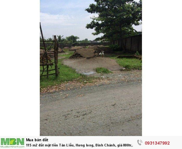 115 m2 đất mặt tiền Tân Liễu, Hưng long, Bình Chánh, giá 800tr, chính chủ