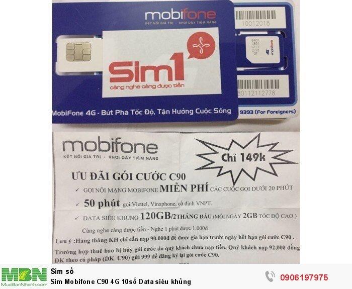 Sim Mobifone C90 4G 10số Data siêu khủng0