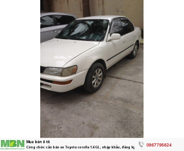 Công chức cần bán xe Toyota corolla 1.6GL, nhập khẩu, đăng ký lần đầu 1998, 1