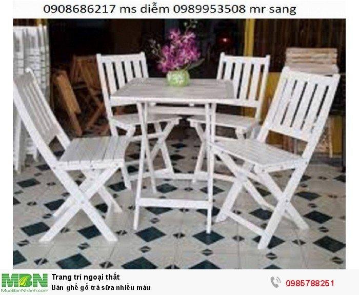 Bàn ghế gỗ trà sữa nhiều màu1