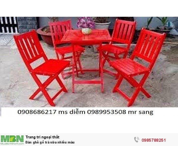 Bàn ghế gỗ trà sữa nhiều màu2