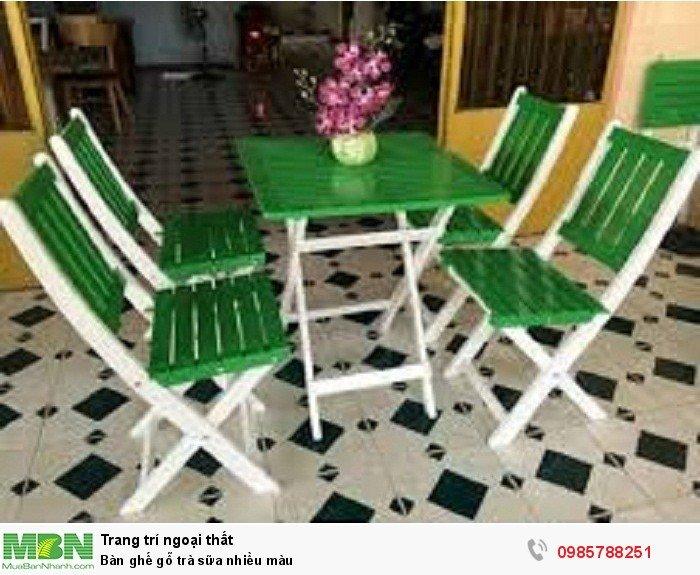 Bàn ghế gỗ trà sữa nhiều màu4