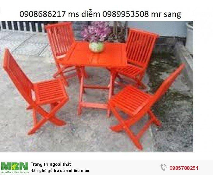 Bàn ghế gỗ trà sữa nhiều màu5