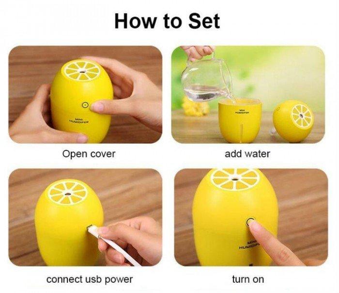 Máy phun sương tinh dầu Quả chanh kiêm đèn ngủ Lemon Humidifier11