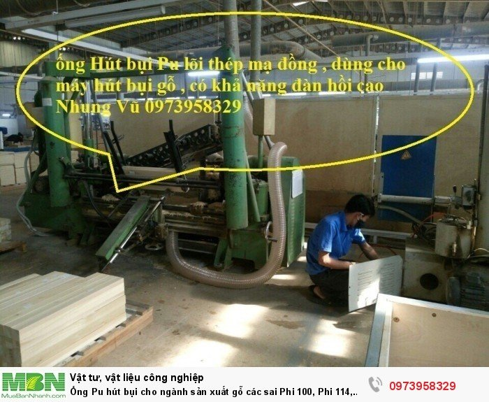 Ống Pu hút bụi cho ngành sản xuất gỗ các sai Phi 100, Phi 114, Phi120, Phi150, Phi 168, Phi 2006