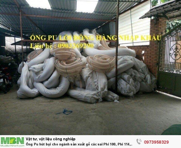 Ống Pu hút bụi cho ngành sản xuất gỗ các sai Phi 100, Phi 114, Phi120, Phi150, Phi 168, Phi 20011