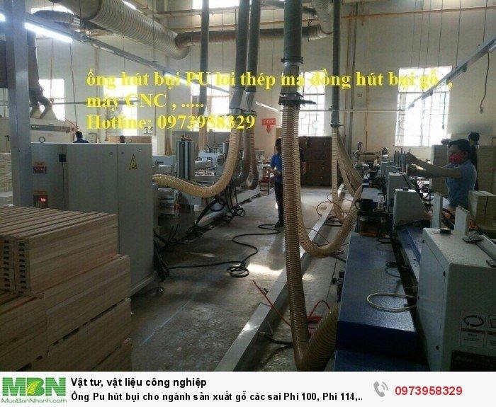 Ống Pu hút bụi cho ngành sản xuất gỗ các sai Phi 100, Phi 114, Phi120, Phi150, Phi 168, Phi 20014