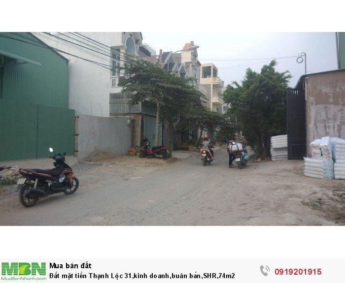 Đất mặt tiền Thạnh Lộc 31,kinh doanh,buân bán,SHR,74m2