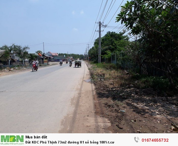 Đất KDC Phú Thịnh 73m2 đường H1 sổ hồng 100%t.cư