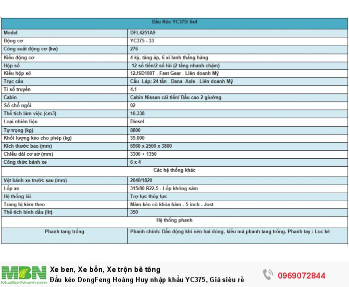 Đầu kéo DongFeng Hoàng Huy nhập khẩu YC375, Giá siêu rẻ 1
