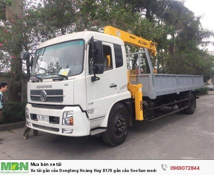Xe tải gắn cẩu Dongfeng Hoàng Huy B170 gắn cẩu SooSan mode SCS524 6 tấn 4 đốt, Xe có sẵn giao ngay 0