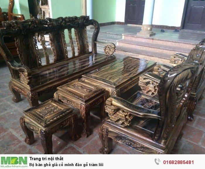 Bộ bàn ghế giả cổ minh đào gỗ tràm lõi0