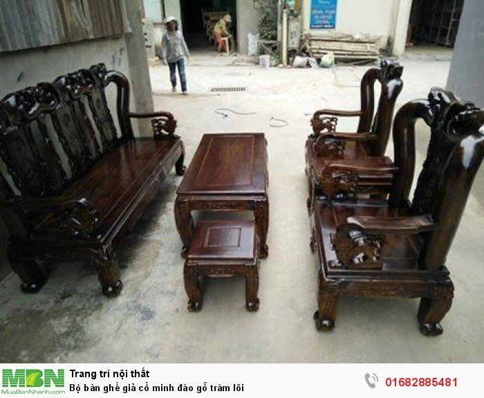 Bộ bàn ghế giả cổ minh đào gỗ tràm lõi1