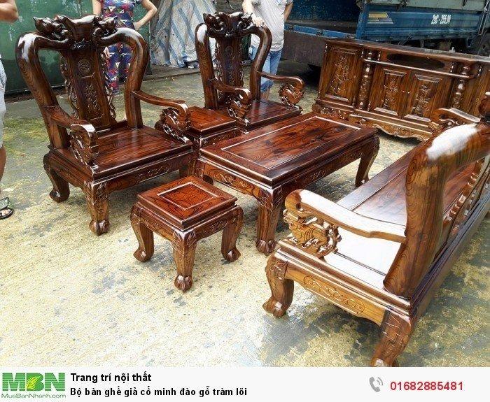 Bộ bàn ghế giả cổ minh đào gỗ tràm lõi2