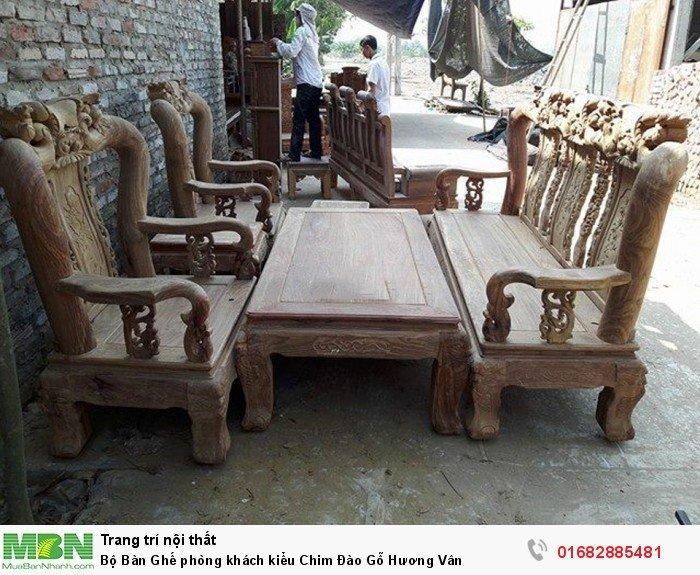Bộ bàn ghế phòng khách trạm chim đào gỗ hương vân0
