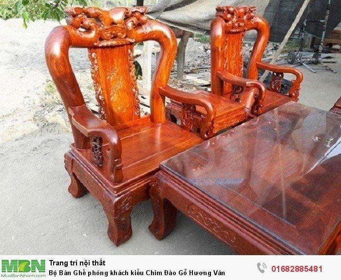 Bộ bàn ghế phòng khách trạm chim đào gỗ hương vân1