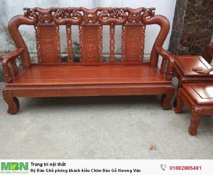 Bộ bàn ghế phòng khách trạm chim đào gỗ hương vân5
