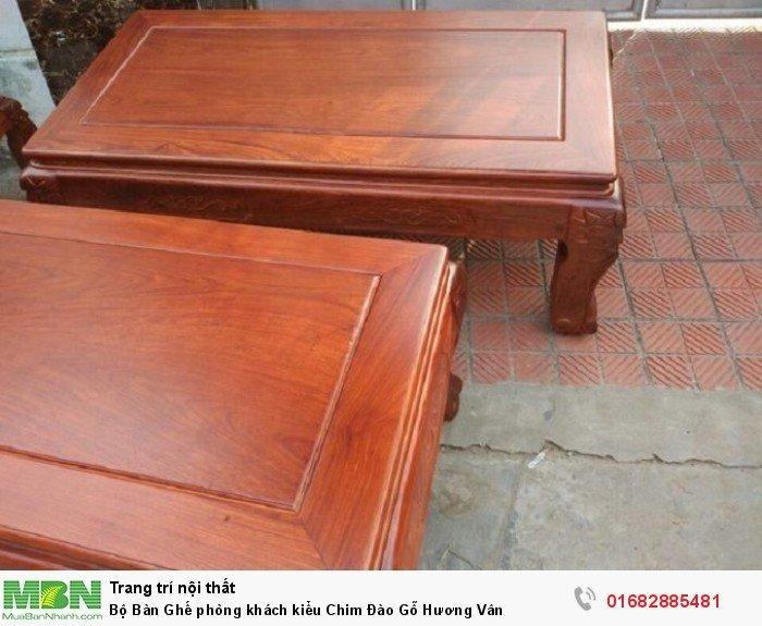Bộ bàn ghế phòng khách trạm chim đào gỗ hương vân4