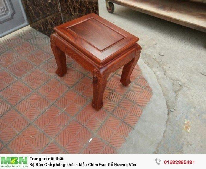 Bộ bàn ghế phòng khách trạm chim đào gỗ hương vân6