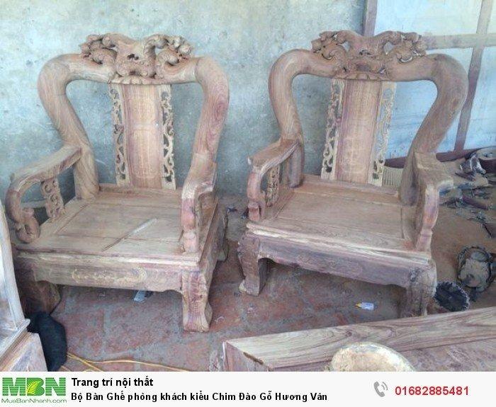 Bộ bàn ghế phòng khách trạm chim đào gỗ hương vân7
