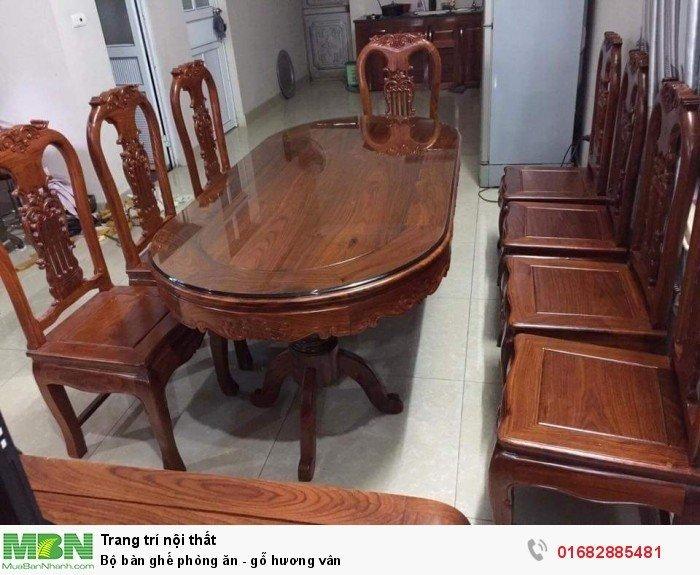 Bộ bàn ghế phòng ăn - gỗ hương vân1