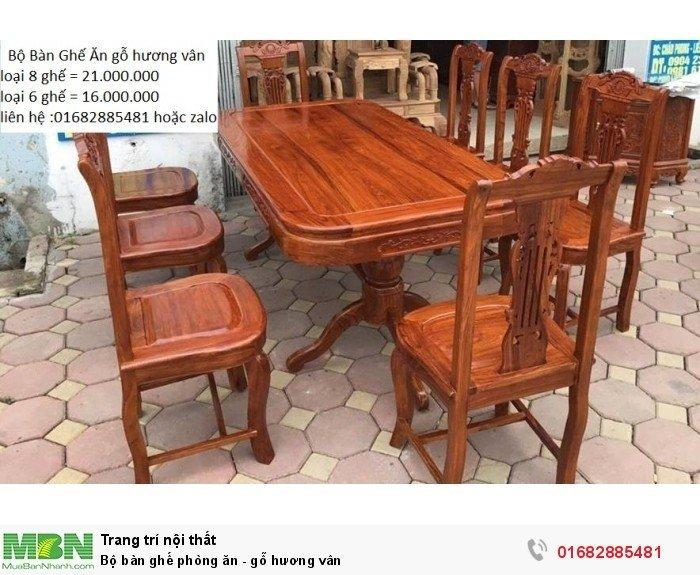 Bộ bàn ghế phòng ăn - gỗ hương vân2