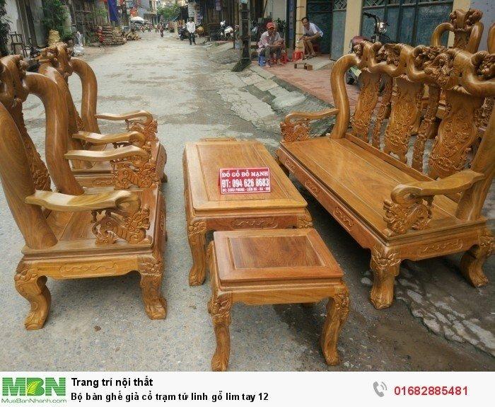 Bộ bàn ghế giả cổ trạm tứ linh gỗ lim0
