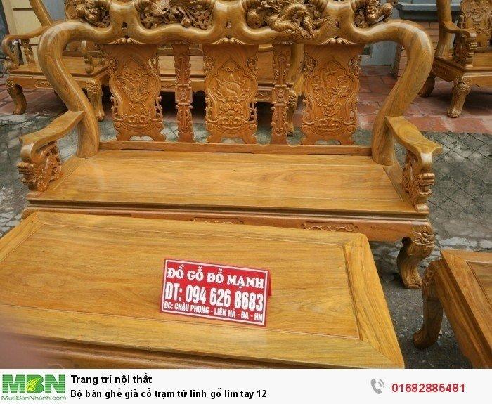 Bộ bàn ghế giả cổ trạm tứ linh gỗ lim1