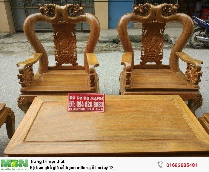 Bộ bàn ghế giả cổ trạm tứ linh gỗ lim2
