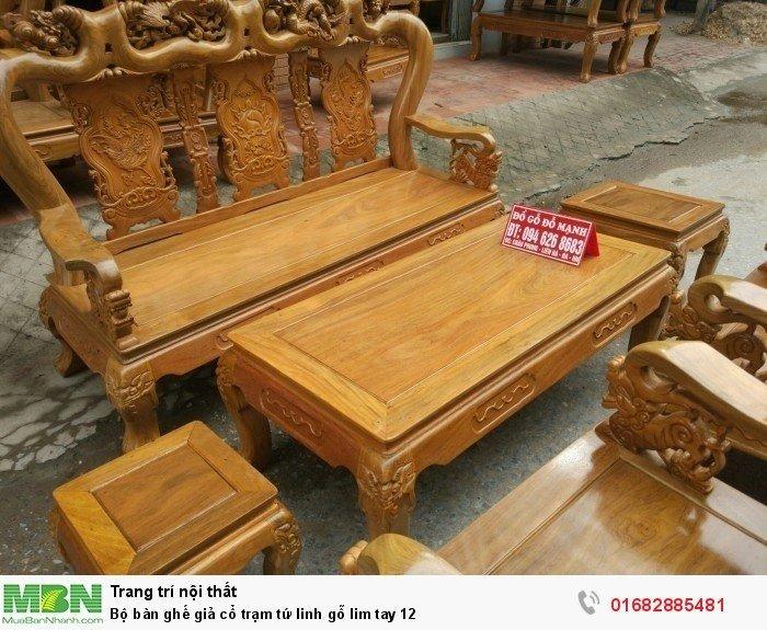 Bộ bàn ghế giả cổ trạm tứ linh gỗ lim3