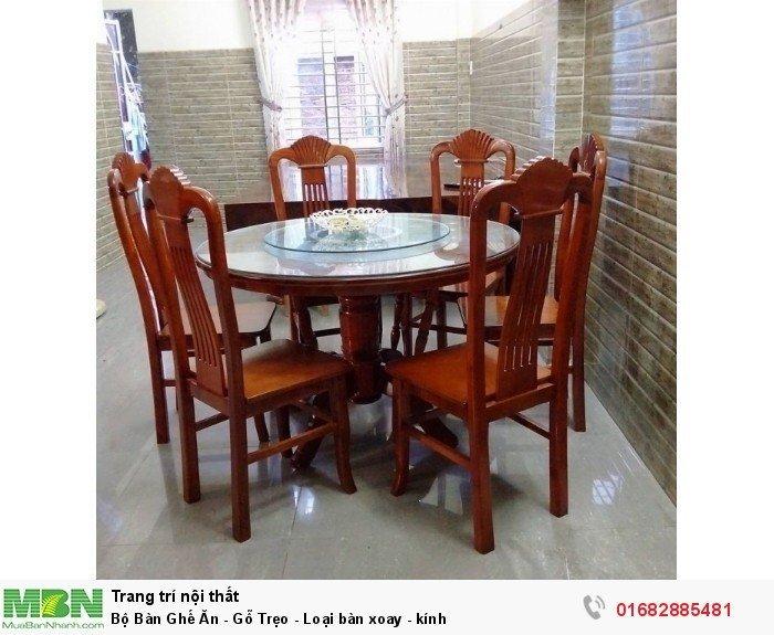 Bộ Bàn Ghế Ăn - Gỗ Trẹo - Loại bàn xoay - kính0