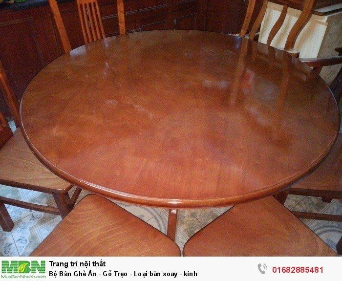 Bộ Bàn Ghế Ăn - Gỗ Trẹo - Loại bàn xoay - kính2