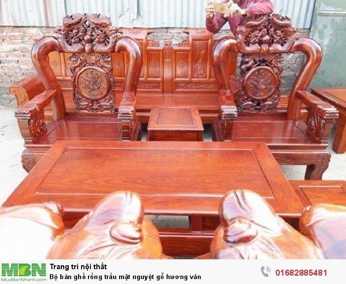 Bộ bàn ghế rồng trầu mặt nguyệt gỗ hương vân