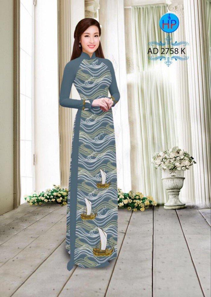 Vải áo dài in hình thuyền và biển AD 27582