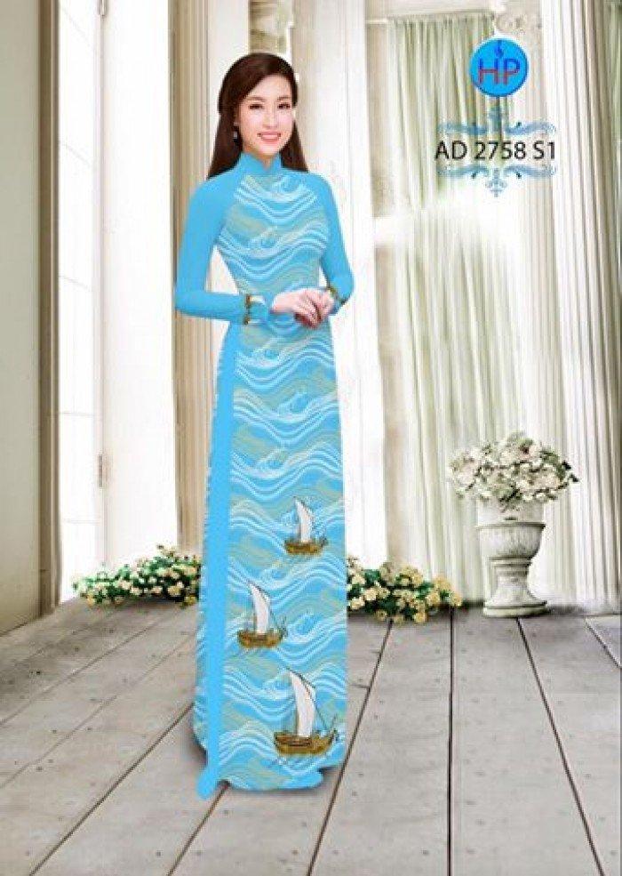 Vải áo dài in hình thuyền và biển AD 27583