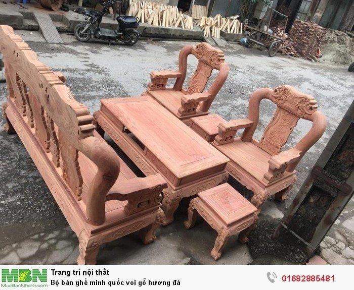 Bộ bàn ghế giả cổ minh quốc voi gỗ hương đá0