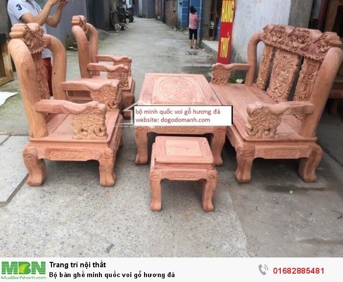 Bộ bàn ghế giả cổ minh quốc voi gỗ hương đá2