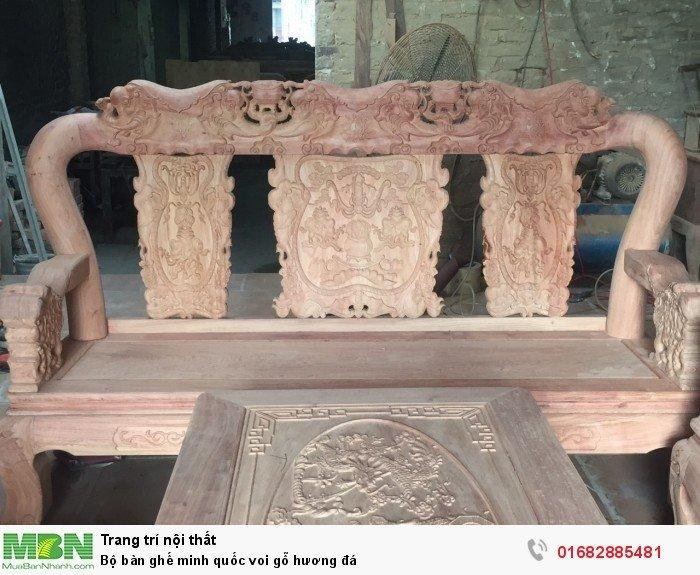 Bộ bàn ghế giả cổ minh quốc voi gỗ hương đá3
