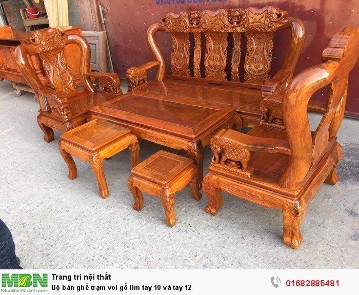 Bộ bàn ghế phòng khách trạm voi gỗ lim1