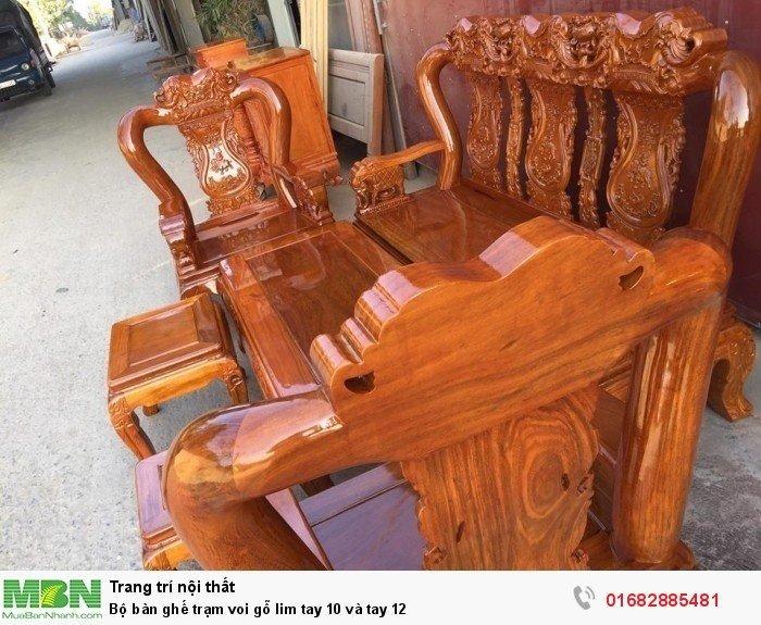 Bộ bàn ghế phòng khách trạm voi gỗ lim2