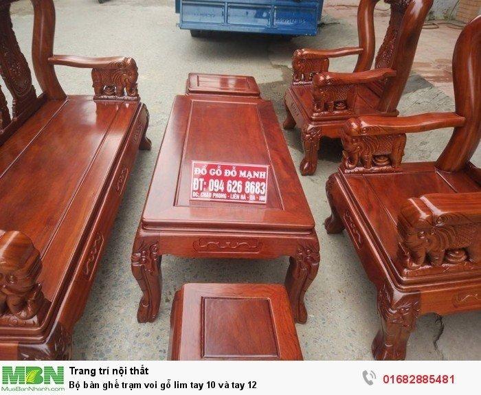 Bộ bàn ghế phòng khách trạm voi gỗ lim4