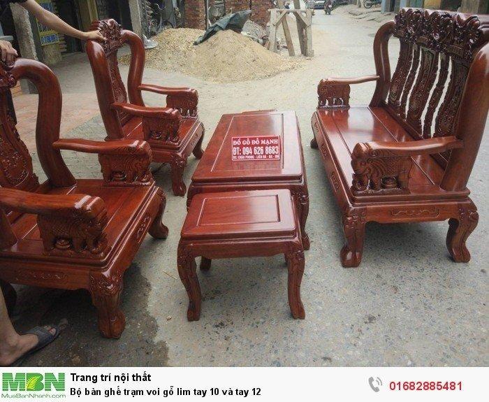 Bộ bàn ghế phòng khách trạm voi gỗ lim5